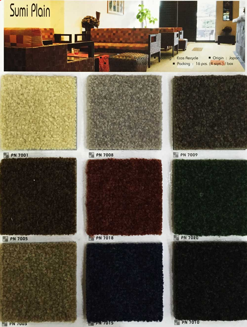 Categories Carpet Tile Product Name Sumi Plain Size 50cm X Quality 100 Nylon Backing Ecos Recycle Total Thickness 9 5mm