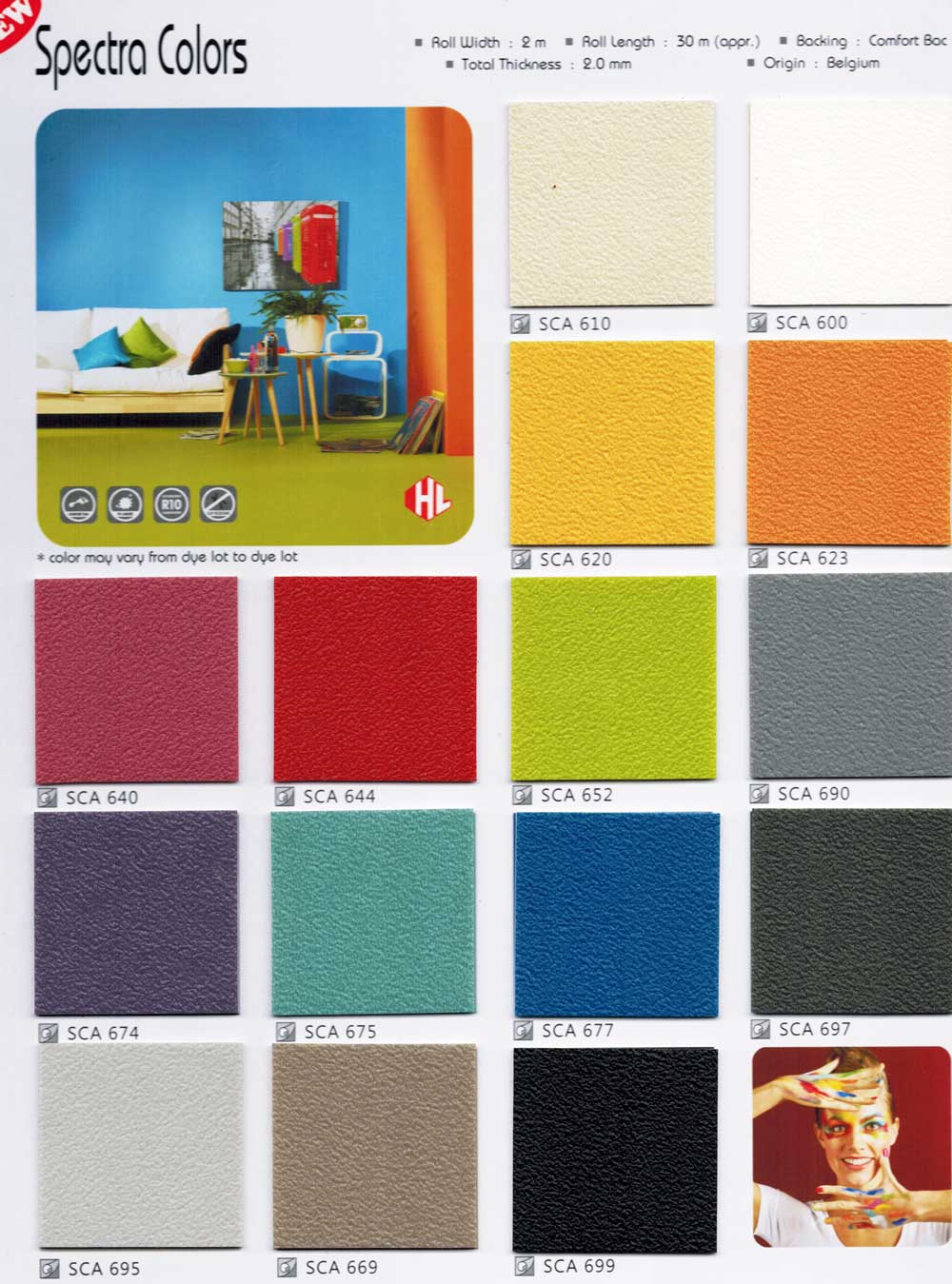 Spectra Colors Belgium Multi Color Sheet Vinyl Flooring