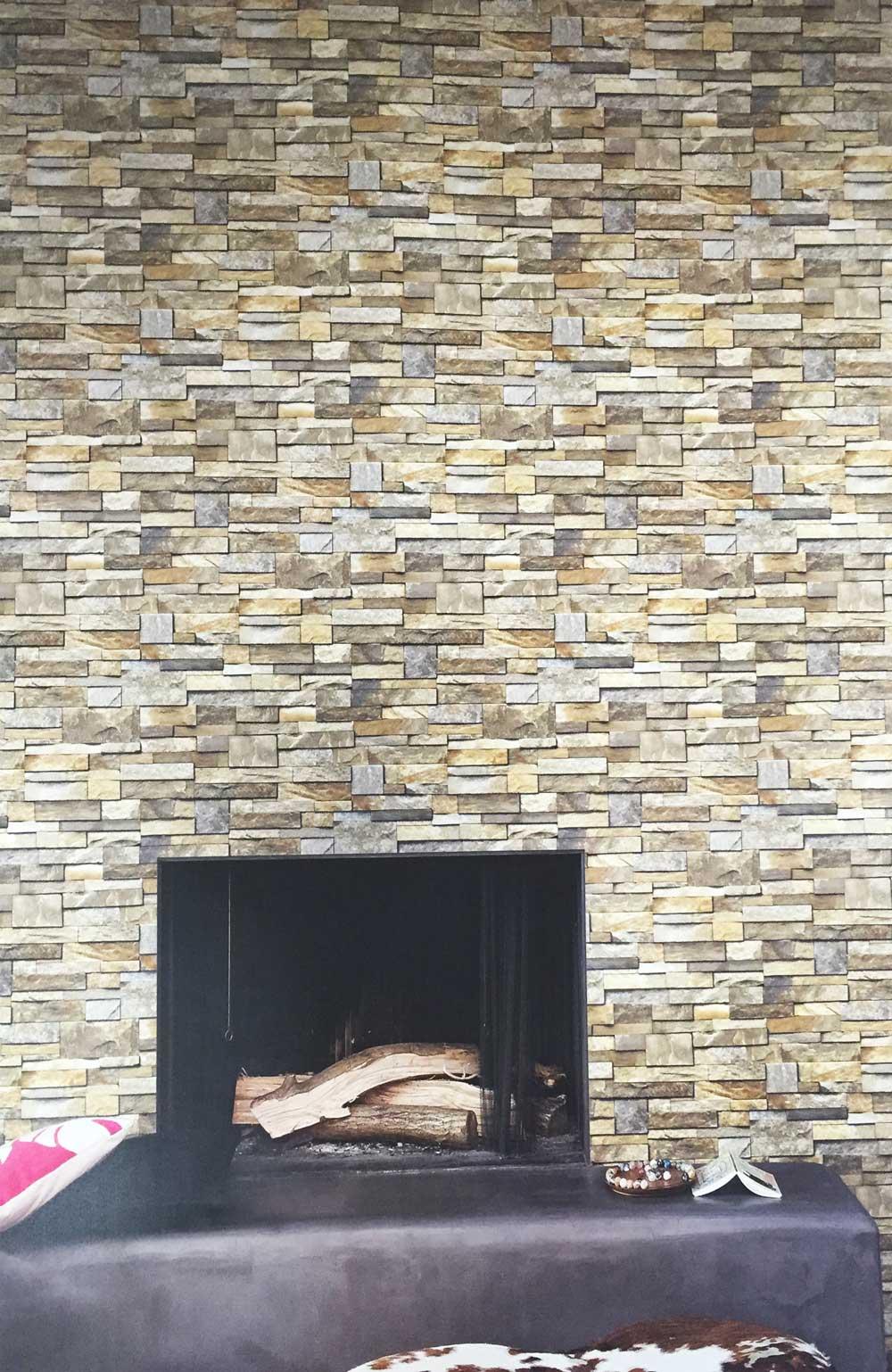 Deco4walls exposed stone brick wallpaper takyin - Commercial wallpaper pasting machine ...